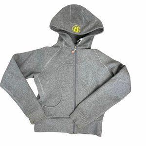 LULULEMON Vintage Women's Gray/Yellow Scuba Full Zip Hoodie Size 10 - Pre-Owned